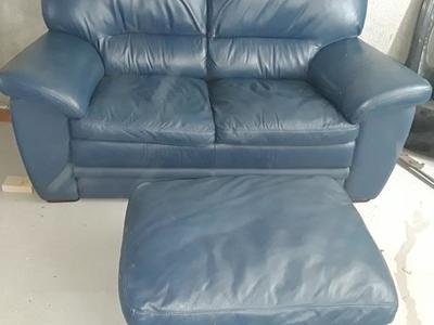 RC Willey blue love seat and ottoman
