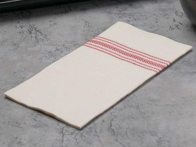"""Hoffmaster FP1110 15 1/2"""" x 15 1/2"""" FashnPoint White/Red Dishtowel Print Dinner Napkin - 800/Case"""