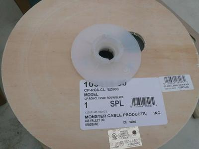 Monster Cable 103414-00 CP-RG6-CL EZ500 BLACK RG6 Coaxial cable 500 foot spool