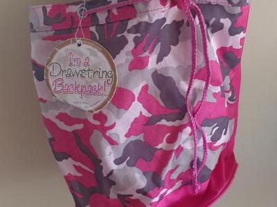 Girls Camoflauge drawstring backpack NEW
