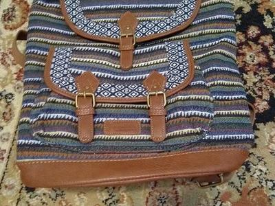 Beautiful Woven & Leather Satchel Backpack