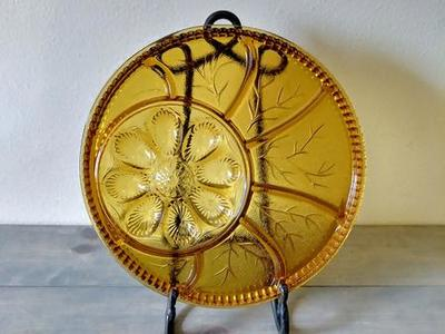 Vintage amber glass serving platter
