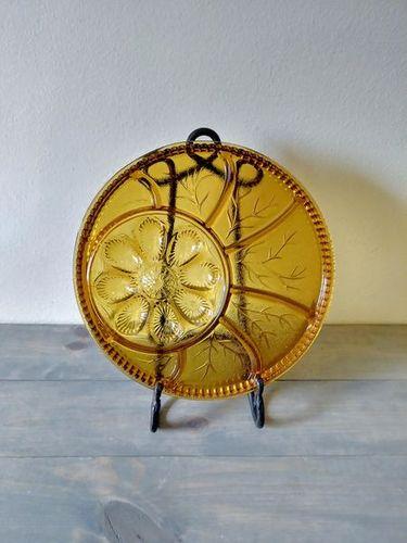 Vintage amber glass serving platter for sale in Lehi , UT
