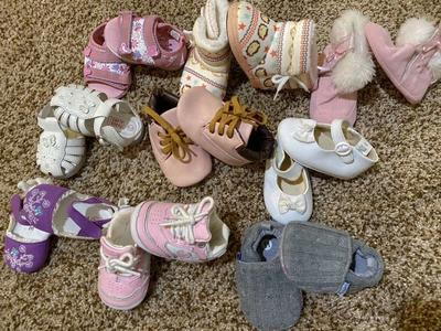 Baby Girl Like New Shoe Lot. Sizes 0, 1, & 2