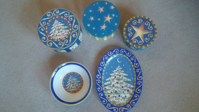 Christmas Platter, Bowl, Cup, and 3 Decorative Boxes for sale in Ogden , UT
