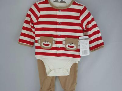 New! 3-Piece Baby Sock Monkey Outfit