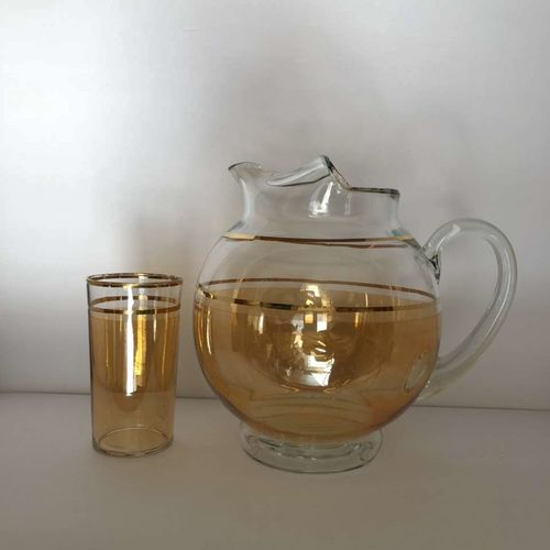 MCM Glass Pitcher & Matxhing Glass Tinted Gold VTG for sale in Brigham City , UT