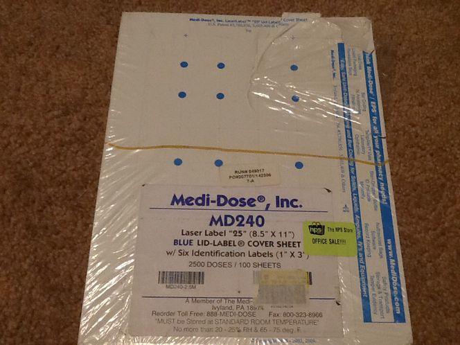 Medi-Dose Blue Lid-Label CoverSheet for sale in Taylorsville , UT