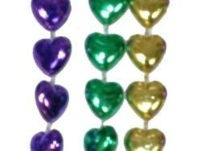 MARDI GRAS PARTY BEADS GOLD, GREEN, & PURPLE HEART SHAPE