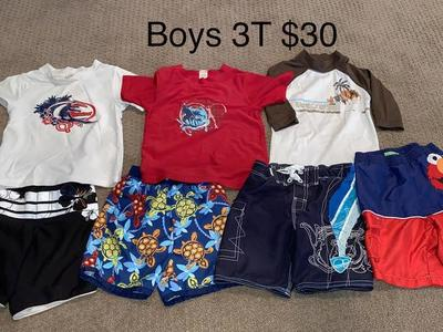 Boys Size 3T Swimsuits and Swimshirts Set