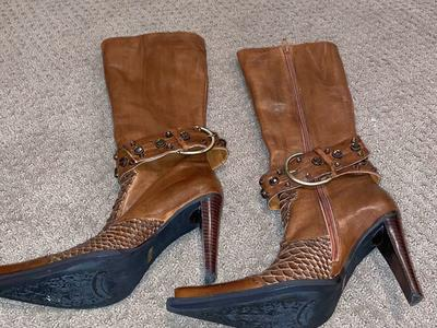 Women's Size 6 Dollhouse High Heel Leather Boots
