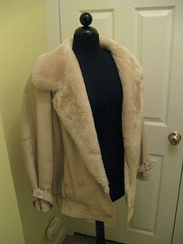 Ladies Leather Almond Color Coat/Jacket w/Faux Fur Collar and Trim, Beautiful for sale in Holladay , UT