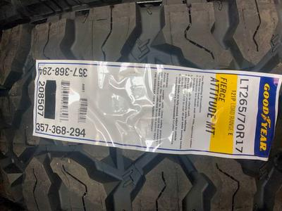 BRAND NEW SET OF  LT 265 /70R17 GOODYEAR