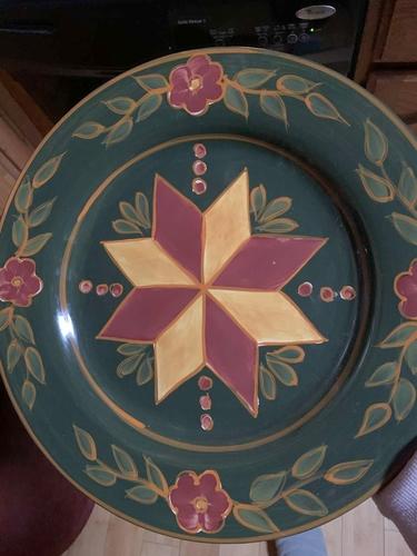 Vintage Heartwood Creek by Jim Shore 2002 Green Gold Ruby Geometric Design Plate Enesco for sale in Salt Lake City , UT