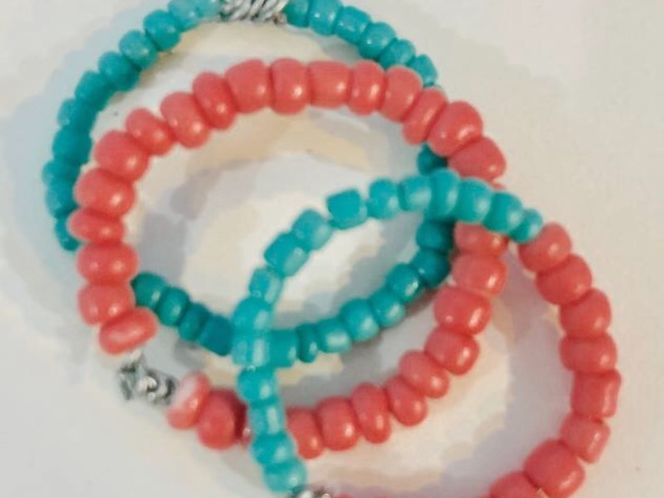 Coral pink and teal ring set! for sale in Sandy , UT