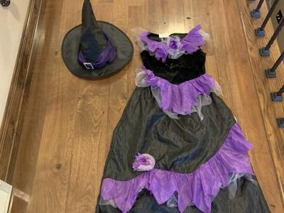 Girl's Purple and Black Witch Rosettes Size 4-6