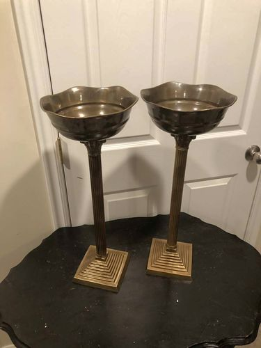 Amazing Set Of 2 Vintage Brass Torchiere Candle Holders! for sale in Sandy , UT