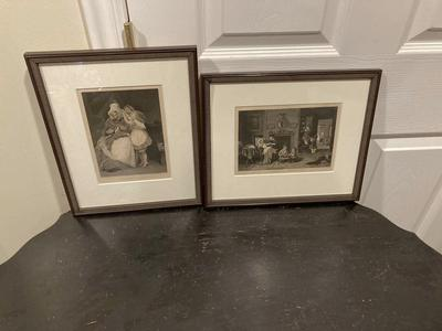 Awesome Pair Of Antique B&W Prints Under Museum Glass & Frames!