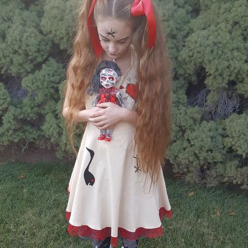Halloween Creepy Doll / Goth dress size L  10-12 for sale in Roy , UT