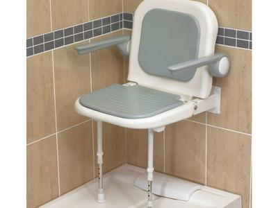 "19"" Wall Mounted Shower Seat, Fold Up, W/ Armrests, W/ Backrest, Padded Seat"
