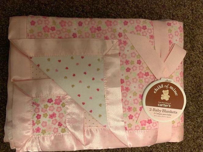 Two baby blankets/girl for sale in Stockton , UT