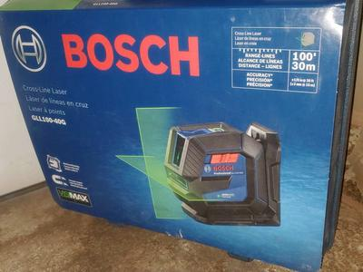BOSCH 100 FT CROSS LINE GREEN LASER LEVEL