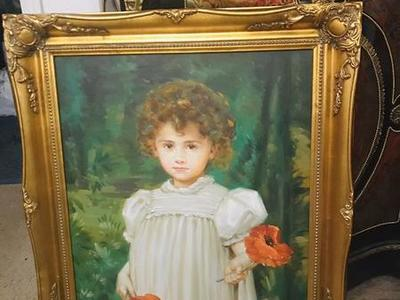 Antique Girl With Flower Large Canvas Oil Painting