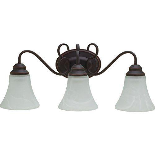 NEW 3 LIGHT RUBBED OIL ALABASTER GLASS VANITY LIGHT (RETAIL: $167.06) for sale in North Ogden , UT