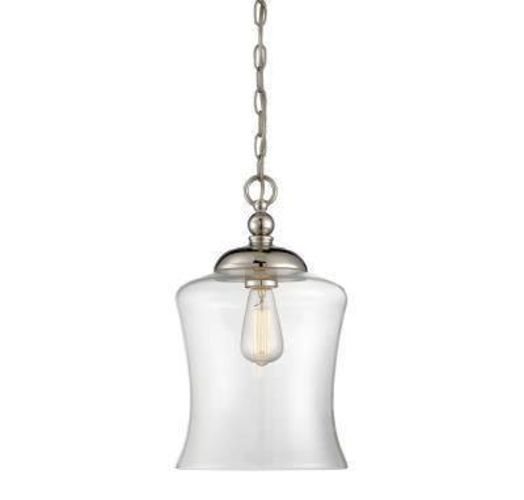 NEW POLISHED NICKEL GLASS BELL PENDANT LIGHT (3 AVAIL) for sale in North Ogden , UT