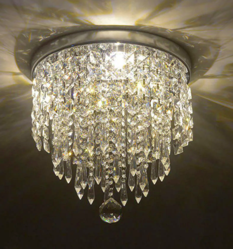 NEW CHROME CRYSTAL 3 LIGHT FLUSHMOUNT CHANDELIER for sale in North Ogden , UT