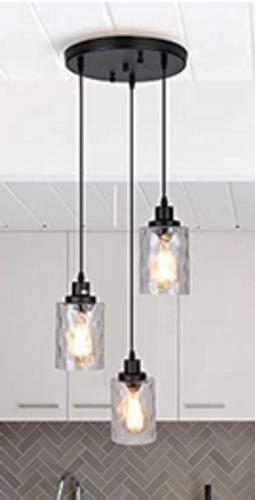 NEW BLACK 3 LIGHT TEXTURED GLASS ADJUSTABLE CHANDELIER for sale in North Ogden , UT