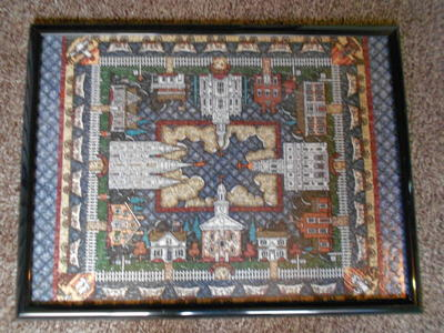 glued 4 Temple puzzle framed
