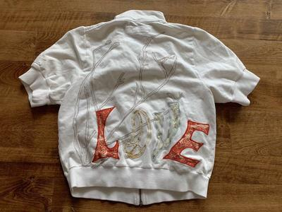 Love Zip Up Embroidered Shirt Medium