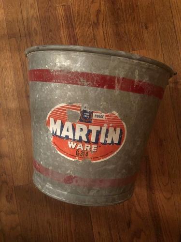 Vintage galvanized metal Martin ware bucket... c.1960, almost new, w/label for sale in Salt Lake City , UT