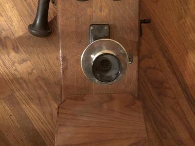 Antique oak crank wall phone