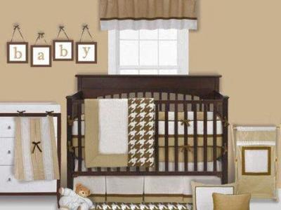 Metro Khaki 6pc Crib Set Bumper Free