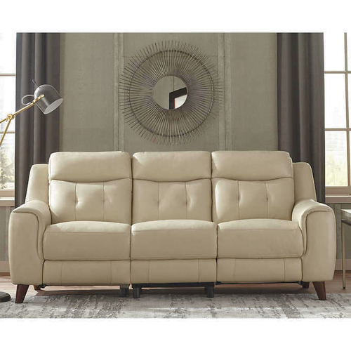 Campania Top Grain Leather Power Reclining Sofa in Eggshell White 1210494 for sale in Orem , UT