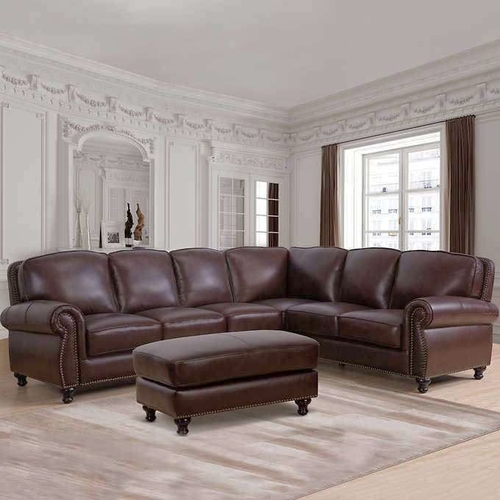 Mortara Brown Leather Sectional with Ottoman 1278554 for sale in Orem , UT