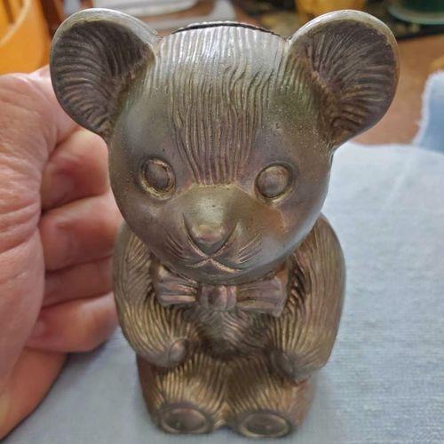 Silver Metal Teddy Bear Coin Piggy Bank for sale in Garland , UT