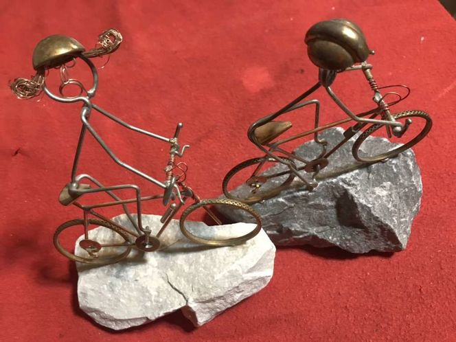 His & Hers mountain biking Wire Sculpture for sale in South Jordan , UT