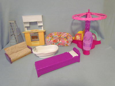 7 Lot Barbie Furniture-Twirl & Spin Ride~Stove~Tub