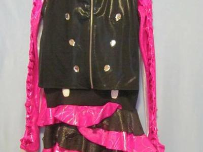 Hot Pink/Silver/Black Dance Costume Sz 10-12 / Lg