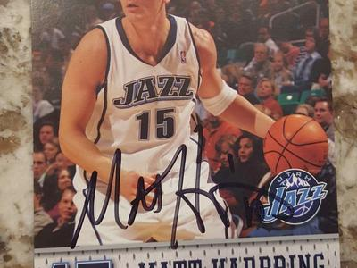 Utah Jazz Matt Harpring autographed playing card