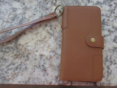 iPhone 12 pro max leather wallet case, brown, like new, used for a month only