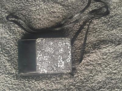Black And White Floral Cross Body Purse