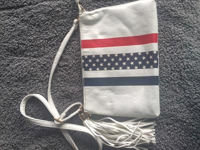 NEW LD American Flag White Crossbody Bag Purse