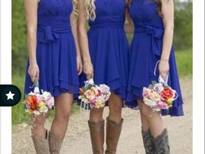 Royal Blue Bridesmaid Country Dress