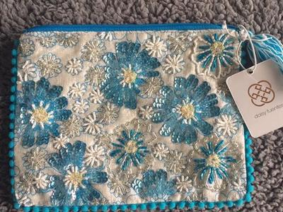 NEW w Tag Daisy Fuentes Blue Beaded Zip Bag