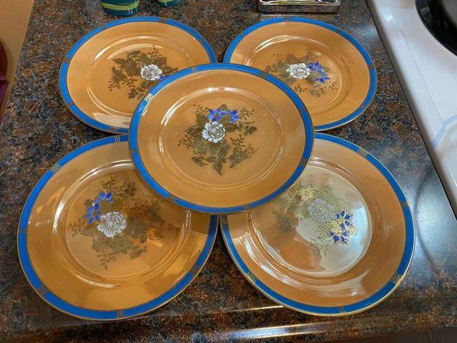 Noritake JAPAN gold Raised Hand Painted 5 Plates for sale in Springville , UT