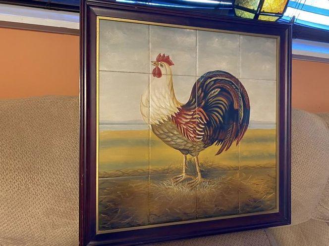 "Cock Rooster Framed Tile Hand Painted Mural 27.5"" for sale in Springville , UT"